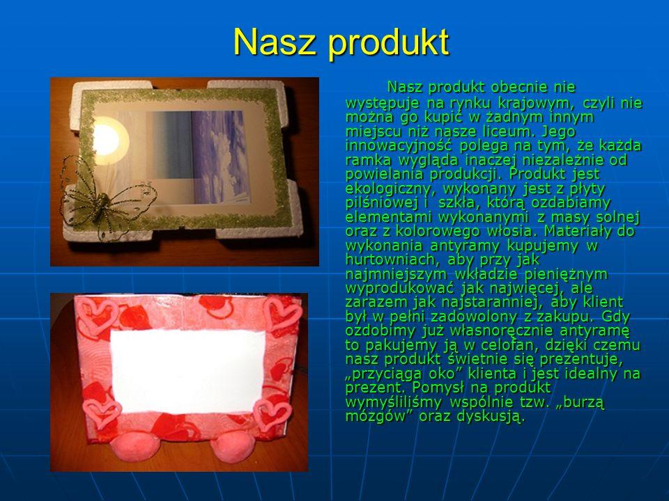 Nasz produkt Nasz produkt obecnie nie występuje na rynku krajowym, czyli nie można go kupić w żadnym innym miejscu niż nasze liceum. Jego innowacyjnoś