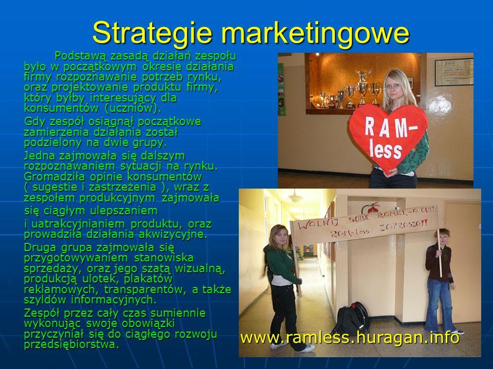 Strategie marketingowe Podstawą zasadą działań zespołu było w początkowym okresie działania firmy rozpoznawanie potrzeb rynku, oraz projektowanie prod