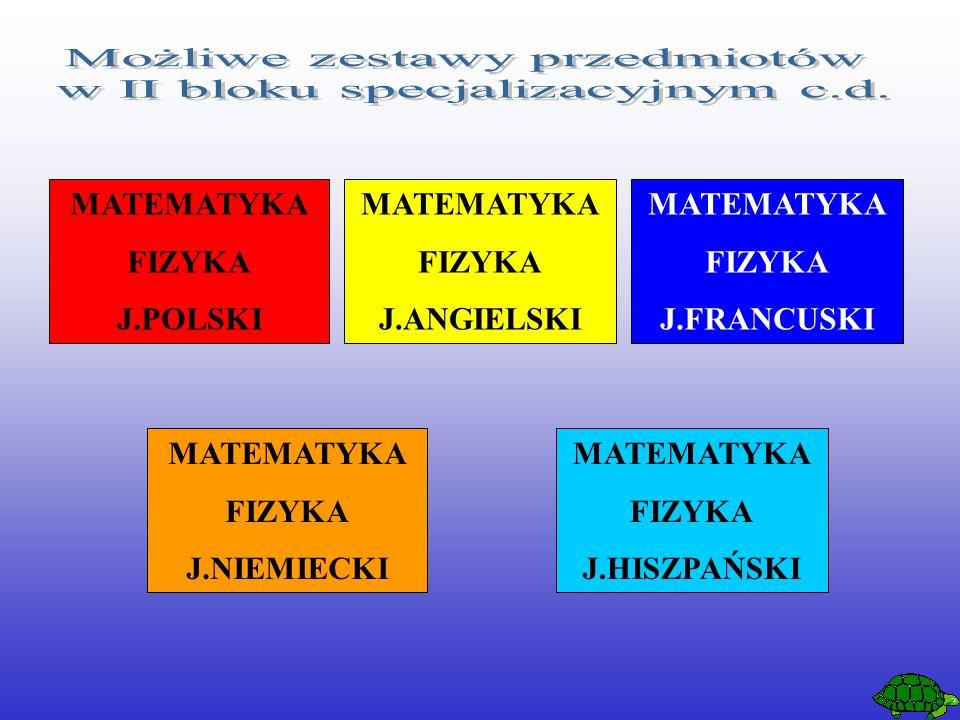 MATEMATYKA FIZYKA J.POLSKI MATEMATYKA FIZYKA J.ANGIELSKI MATEMATYKA FIZYKA J.FRANCUSKI MATEMATYKA FIZYKA J.NIEMIECKI MATEMATYKA FIZYKA J.HISZPAŃSKI