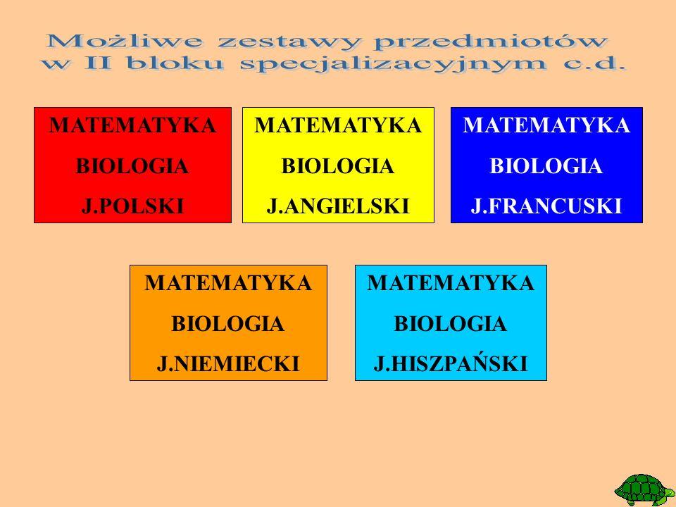 MATEMATYKA BIOLOGIA J.POLSKI MATEMATYKA BIOLOGIA J.ANGIELSKI MATEMATYKA BIOLOGIA J.FRANCUSKI MATEMATYKA BIOLOGIA J.NIEMIECKI MATEMATYKA BIOLOGIA J.HIS