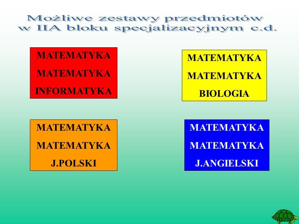 MATEMATYKA INFORMATYKA MATEMATYKA BIOLOGIA MATEMATYKA J.ANGIELSKI MATEMATYKA J.POLSKI