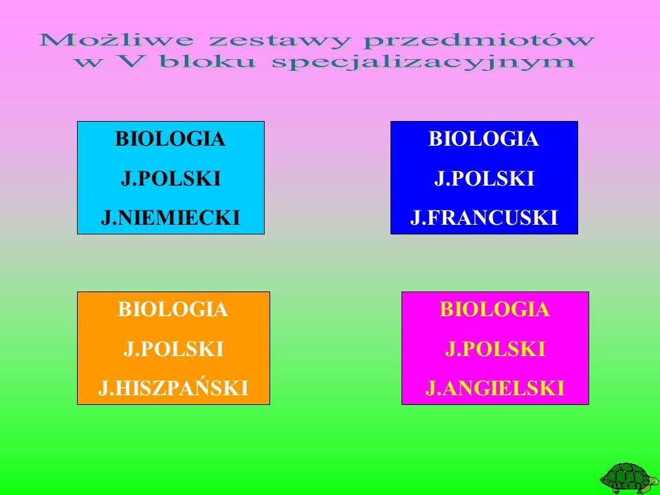 BIOLOGIA J.POLSKI J.FRANCUSKI BIOLOGIA J.POLSKI J.HISZPAŃSKI BIOLOGIA J.POLSKI J.NIEMIECKI BIOLOGIA J.POLSKI J.ANGIELSKI