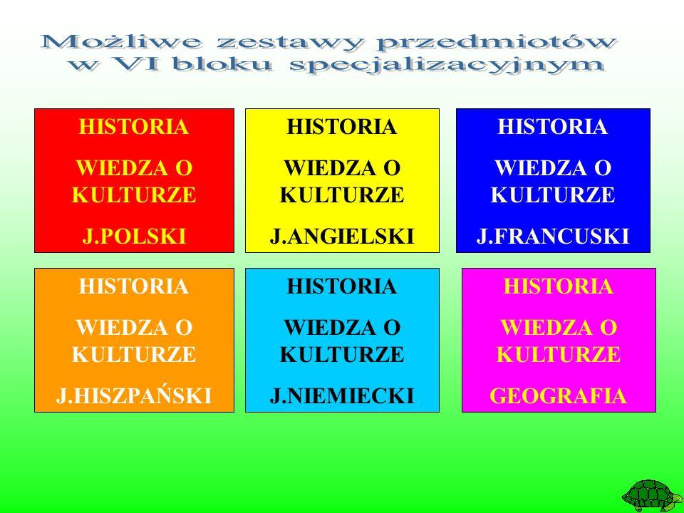 HISTORIA WIEDZA O KULTURZE J.POLSKI HISTORIA WIEDZA O KULTURZE J.ANGIELSKI HISTORIA WIEDZA O KULTURZE J.FRANCUSKI HISTORIA WIEDZA O KULTURZE J.HISZPAŃSKI HISTORIA WIEDZA O KULTURZE J.NIEMIECKI HISTORIA WIEDZA O KULTURZE GEOGRAFIA