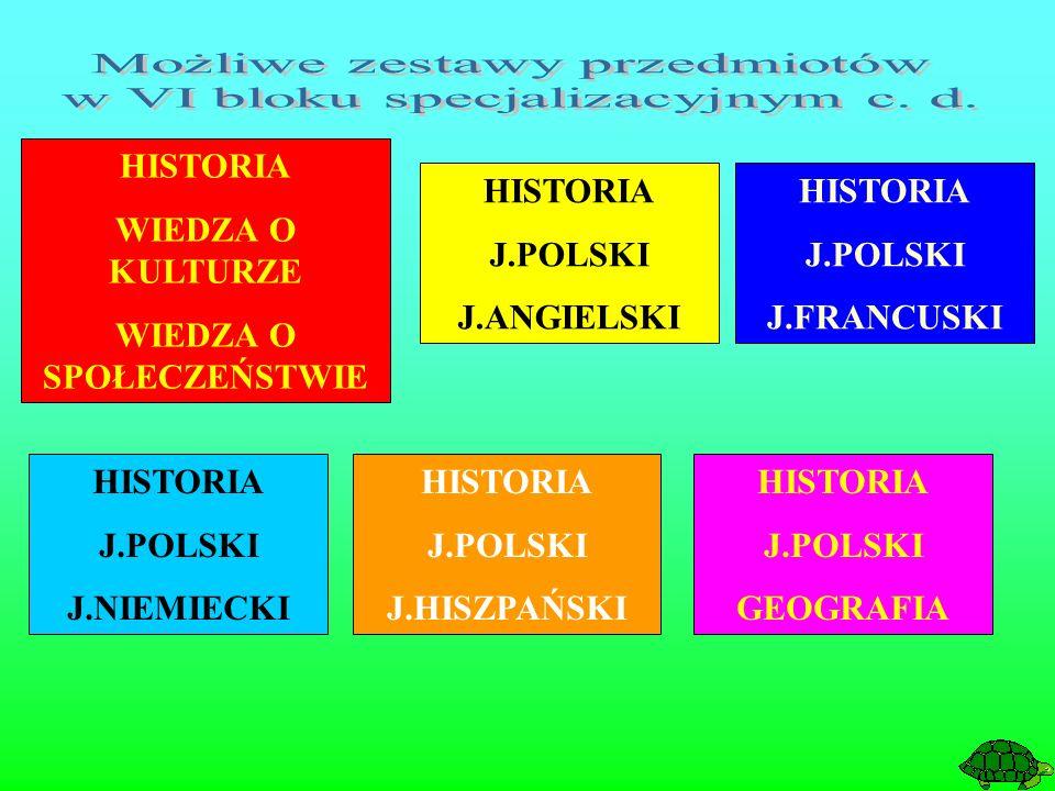 HISTORIA J.POLSKI J.ANGIELSKI HISTORIA J.POLSKI J.FRANCUSKI HISTORIA J.POLSKI J.HISZPAŃSKI HISTORIA J.POLSKI J.NIEMIECKI HISTORIA J.POLSKI GEOGRAFIA HISTORIA WIEDZA O KULTURZE WIEDZA O SPOŁECZEŃSTWIE