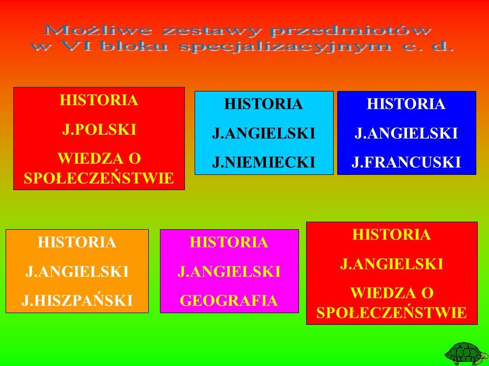 HISTORIA J.ANGIELSKI J.FRANCUSKI HISTORIA J.ANGIELSKI J.HISZPAŃSKI HISTORIA J.ANGIELSKI J.NIEMIECKI HISTORIA J.ANGIELSKI GEOGRAFIA HISTORIA J.POLSKI W