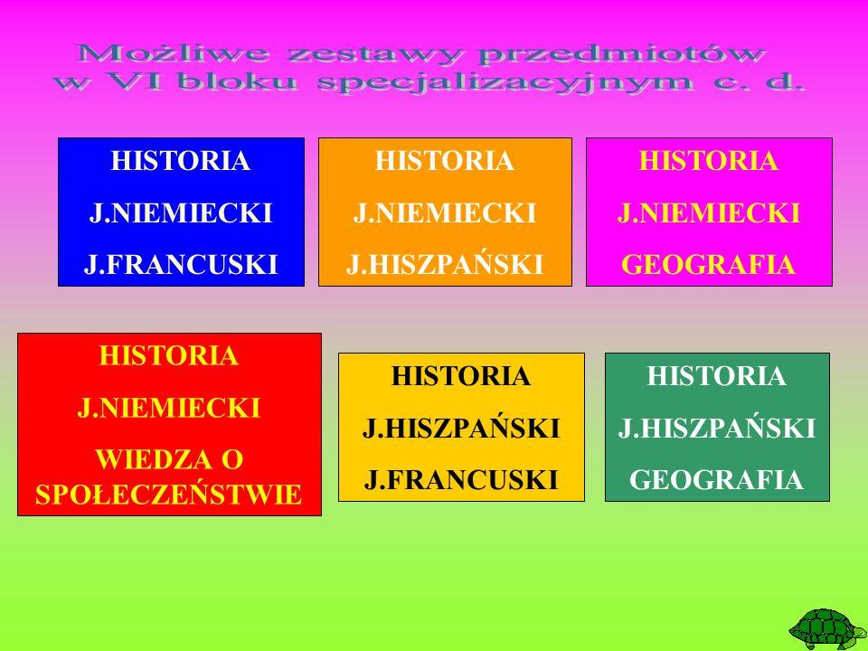HISTORIA J.NIEMIECKI J.FRANCUSKI HISTORIA J.NIEMIECKI J.HISZPAŃSKI HISTORIA J.NIEMIECKI GEOGRAFIA HISTORIA J.HISZPAŃSKI J.FRANCUSKI HISTORIA J.HISZPAŃ