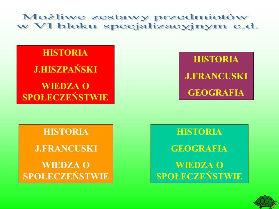 HISTORIA J.FRANCUSKI WIEDZA O SPOŁECZEŃSTWIE HISTORIA J.FRANCUSKI GEOGRAFIA HISTORIA J.HISZPAŃSKI WIEDZA O SPOŁECZEŃSTWIE HISTORIA GEOGRAFIA WIEDZA O