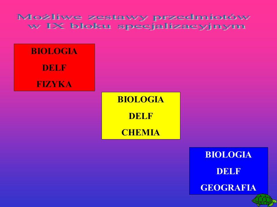 BIOLOGIA DELF FIZYKA BIOLOGIA DELF CHEMIA BIOLOGIA DELF GEOGRAFIA