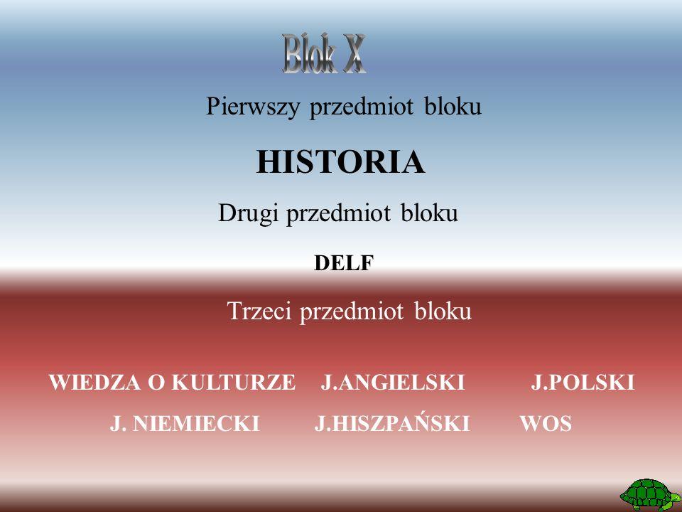 Pierwszy przedmiot bloku HISTORIA Drugi przedmiot bloku Trzeci przedmiot bloku WIEDZA O KULTURZEJ.ANGIELSKI J.POLSKI J. NIEMIECKIJ.HISZPAŃSKIWOS DELF