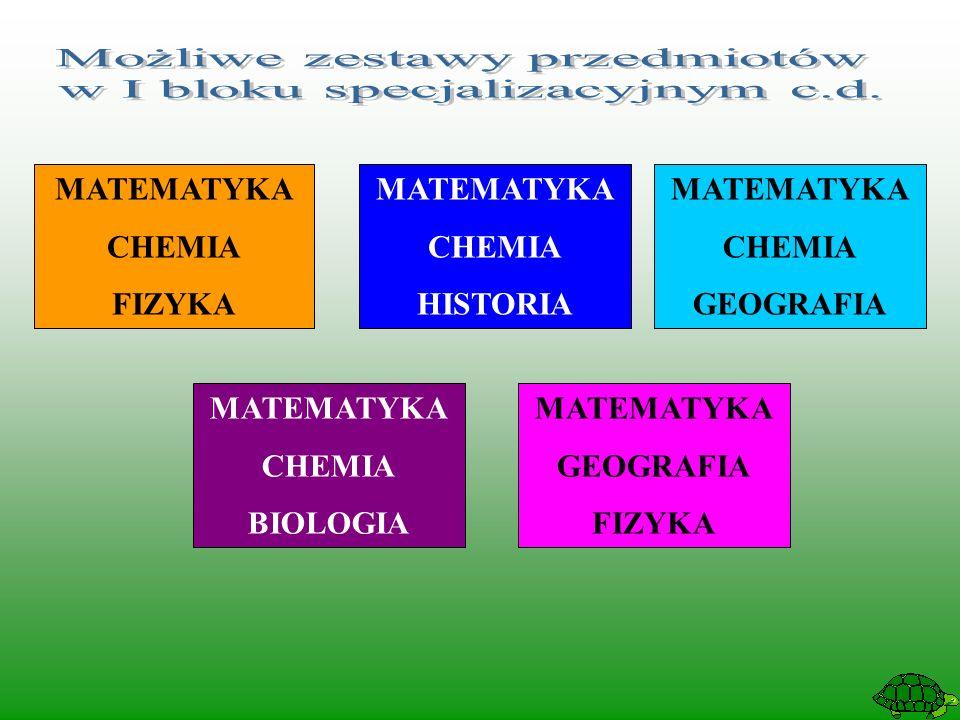 MATEMATYKA CHEMIA HISTORIA MATEMATYKA CHEMIA FIZYKA MATEMATYKA CHEMIA GEOGRAFIA MATEMATYKA GEOGRAFIA FIZYKA MATEMATYKA CHEMIA BIOLOGIA