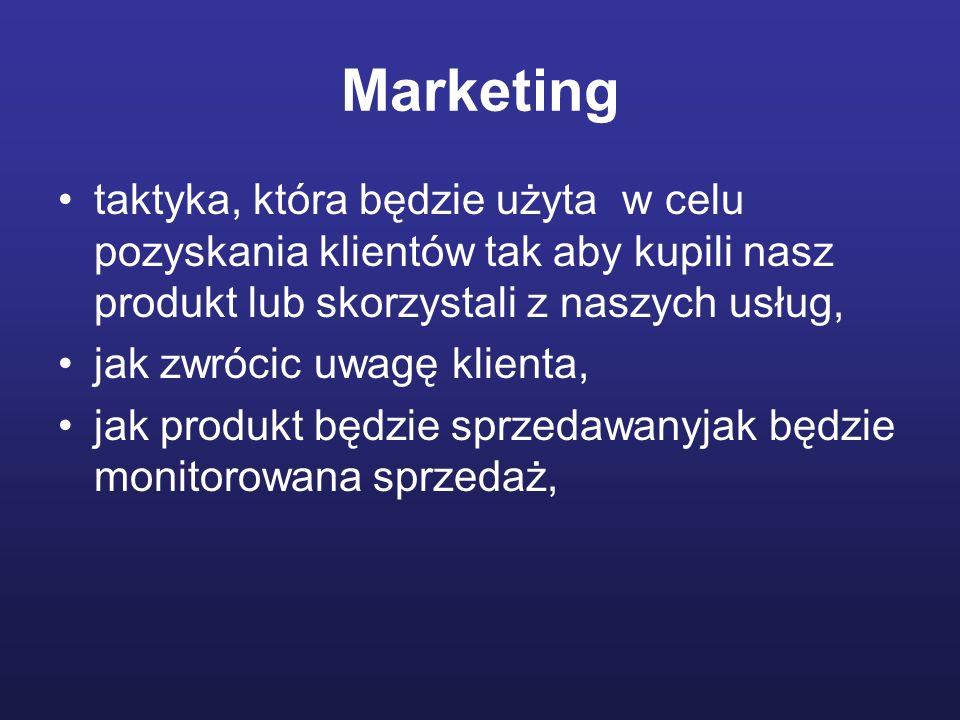 Marketing taktyka, która będzie użyta w celu pozyskania klientów tak aby kupili nasz produkt lub skorzystali z naszych usług, jak zwrócic uwagę klient