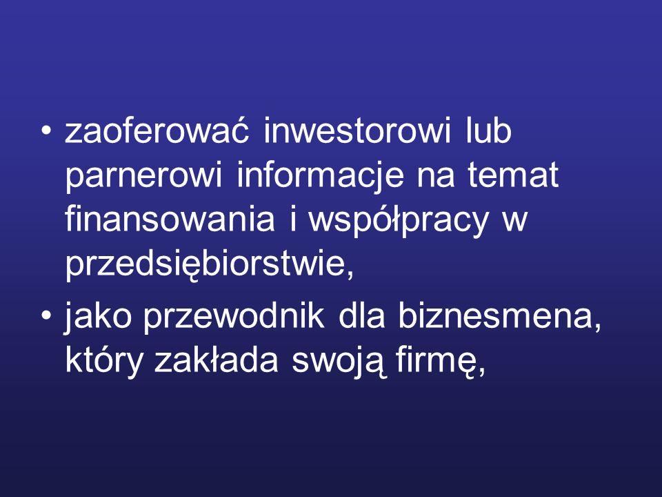zaoferować inwestorowi lub parnerowi informacje na temat finansowania i współpracy w przedsiębiorstwie, jako przewodnik dla biznesmena, który zakłada