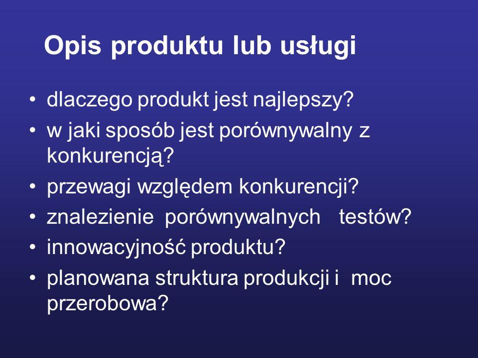 Opis produktu lub usługi dlaczego produkt jest najlepszy? w jaki sposób jest porównywalny z konkurencją? przewagi względem konkurencji? znalezienie po