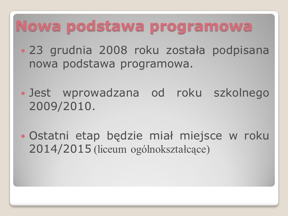 Nowa podstawa programowa 23 grudnia 2008 roku została podpisana nowa podstawa programowa.
