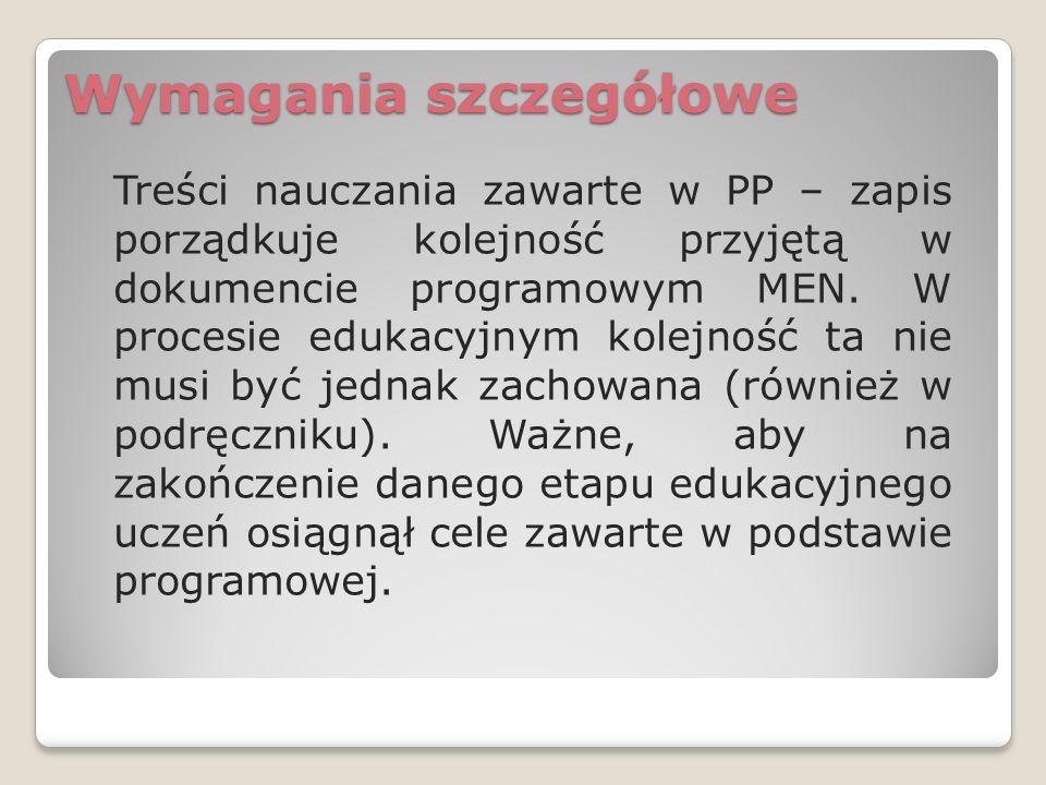 Podręczniki W podręczniku mogą pojawić się zagadnienia, których nie ma w nowej PP: niektóre z nich są wymienione w PP dla klas niższego etapu, inne to treści nadobowiązkowe.