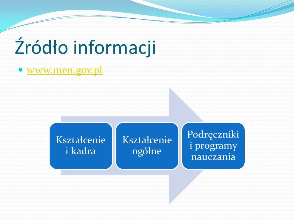 Źródło informacji www.men.gov.pl Kształcenie i kadra Kształcenie ogólne Podręczniki i programy nauczania