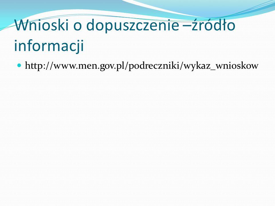 Wnioski o dopuszczenie –źródło informacji http://www.men.gov.pl/podreczniki/wykaz_wnioskow