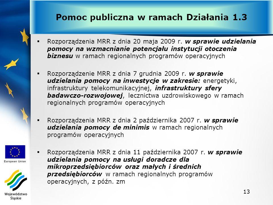 Rozporządzenia MRR z dnia 20 maja 2009 r. w sprawie udzielania pomocy na wzmacnianie potencjału instytucji otoczenia biznesu w ramach regionalnych pro