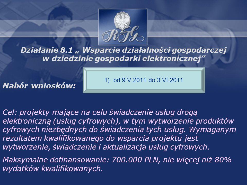 Działanie 8.1 Wsparcie działalności gospodarczej w dziedzinie gospodarki elektronicznej Nabór wniosków: Cel: projekty mające na celu świadczenie usług drogą elektroniczną (usług cyfrowych), w tym wytworzenie produktów cyfrowych niezbędnych do świadczenia tych usług.