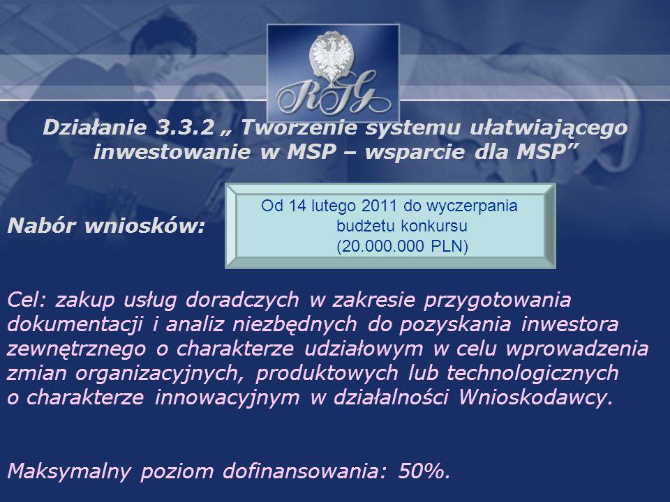 Działanie 3.3.2 Tworzenie systemu ułatwiającego inwestowanie w MSP – wsparcie dla MSP Nabór wniosków: Cel: zakup usług doradczych w zakresie przygotowania dokumentacji i analiz niezbędnych do pozyskania inwestora zewnętrznego o charakterze udziałowym w celu wprowadzenia zmian organizacyjnych, produktowych lub technologicznych o charakterze innowacyjnym w działalności Wnioskodawcy.