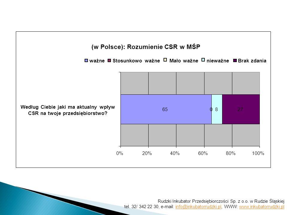 (w Polsce): Rozumienie CSR w MŚP 6500827 0%20%40%60%80%100% ważneStosunkowo ważne Mało ważne nieważneBrak zdania Według Ciebie jaki ma aktualny wpływ CSR na twoje przedsiębiorstwo.
