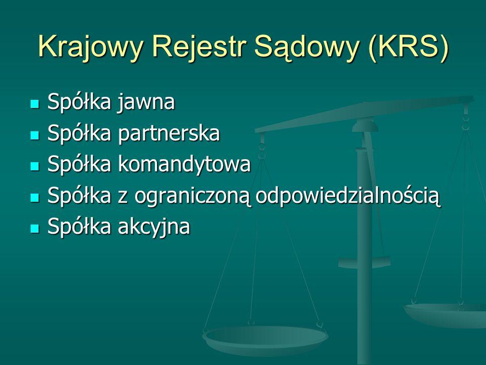 Krajowy Rejestr Sądowy (KRS) Spółka jawna Spółka jawna Spółka partnerska Spółka partnerska Spółka komandytowa Spółka komandytowa Spółka z ograniczoną odpowiedzialnością Spółka z ograniczoną odpowiedzialnością Spółka akcyjna Spółka akcyjna