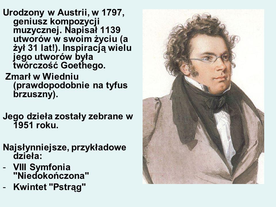 Urodzony w Austrii, w 1797, geniusz kompozycji muzycznej. Napisał 1139 utworów w swoim życiu (a żył 31 lat!). Inspiracją wielu jego utworów była twórc