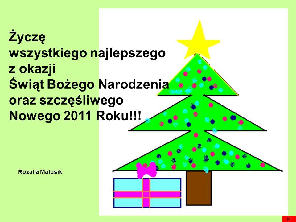 Życzę wszystkiego najlepszego z okazji Świąt Bożego Narodzenia oraz szczęśliwego Nowego 2011 Roku!!! Rozalia Matusik