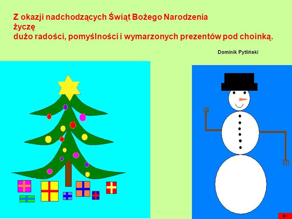 Z okazji nadchodzących Świąt Bożego Narodzenia życzę dużo radości, pomyślności i wymarzonych prezentów pod choinką. Dominik Pytliński