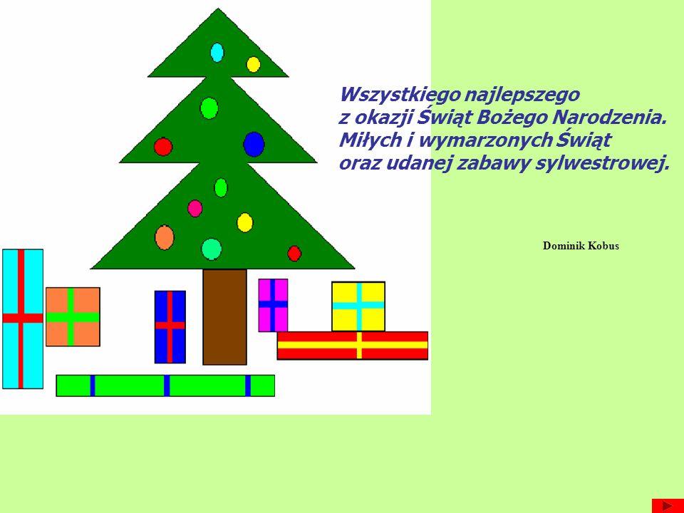 Wszystkiego najlepszego z okazji Świąt Bożego Narodzenia. Miłych i wymarzonych Świąt oraz udanej zabawy sylwestrowej. Dominik Kobus