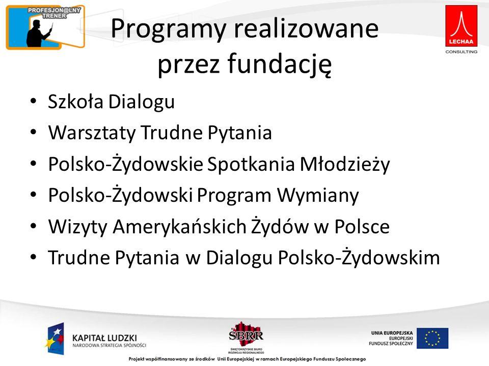 Programy realizowane przez fundację Szkoła Dialogu Warsztaty Trudne Pytania Polsko-Żydowskie Spotkania Młodzieży Polsko-Żydowski Program Wymiany Wizyt
