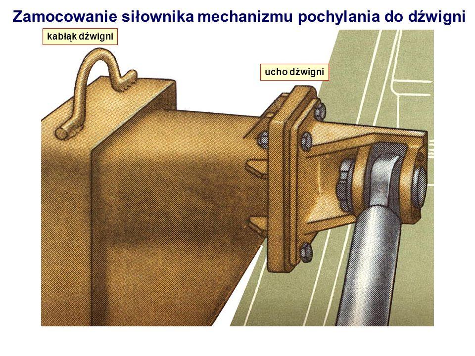 Zamocowanie siłownika mechanizmu pochylania do dźwigni kabłąk dźwigni ucho dźwigni