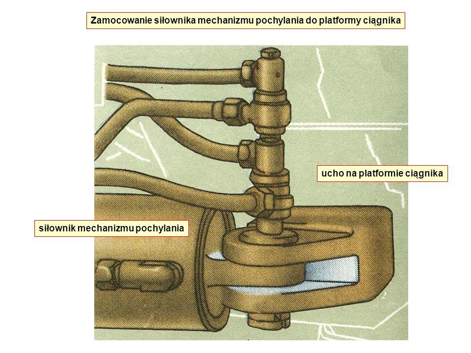 Zamocowanie siłownika mechanizmu pochylania do platformy ciągnika siłownik mechanizmu pochylania ucho na platformie ciągnika