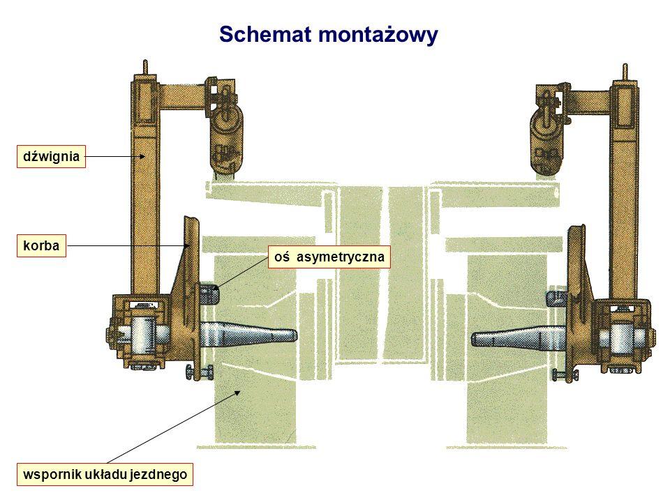 Schemat montażowy dźwignia oś asymetryczna korba wspornik układu jezdnego