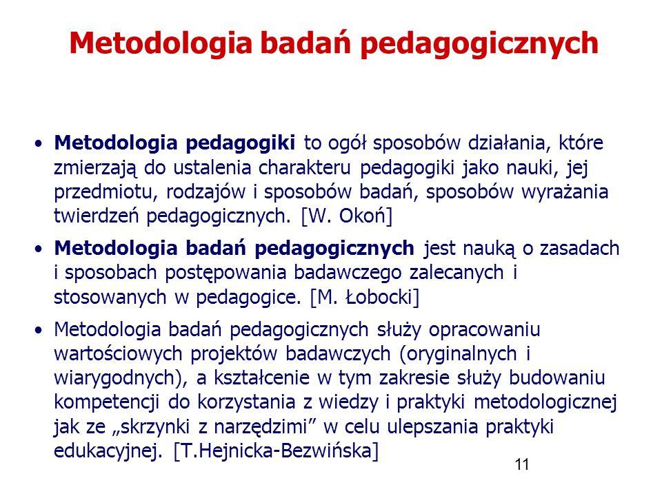11 Metodologia badań pedagogicznych Metodologia pedagogiki to ogół sposobów działania, które zmierzają do ustalenia charakteru pedagogiki jako nauki,