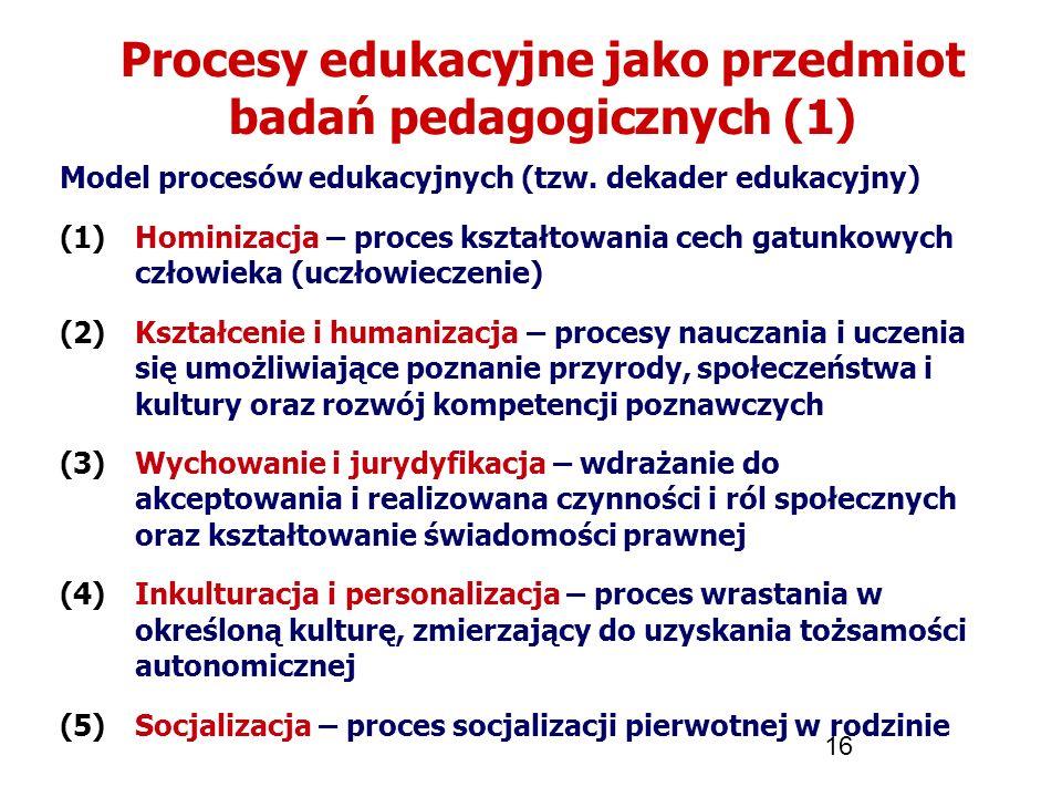 16 Procesy edukacyjne jako przedmiot badań pedagogicznych (1) Model procesów edukacyjnych (tzw. dekader edukacyjny) (1)Hominizacja – proces kształtowa