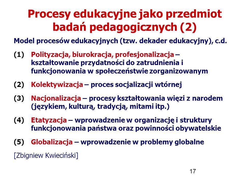 17 Procesy edukacyjne jako przedmiot badań pedagogicznych (2) Model procesów edukacyjnych (tzw. dekader edukacyjny), c.d. (1)Polityzacja, biurokracja,