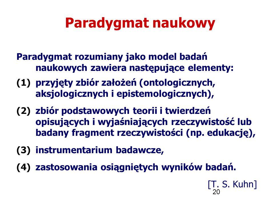 20 Paradygmat naukowy Paradygmat rozumiany jako model badań naukowych zawiera następujące elementy: (1)przyjęty zbiór założeń (ontologicznych, aksjolo