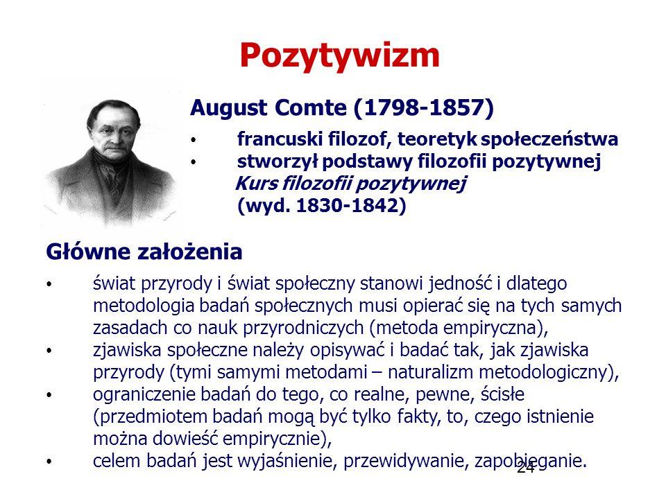 24 Pozytywizm August Comte (1798-1857) francuski filozof, teoretyk społeczeństwa stworzył podstawy filozofii pozytywnej Kurs filozofii pozytywnej (wyd
