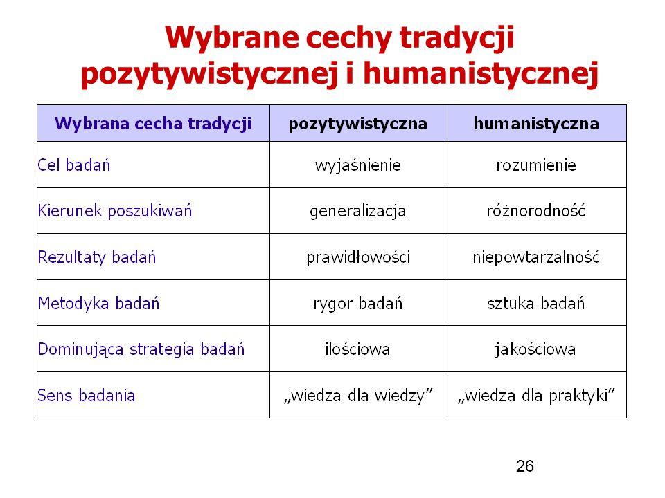 26 Wybrane cechy tradycji pozytywistycznej i humanistycznej