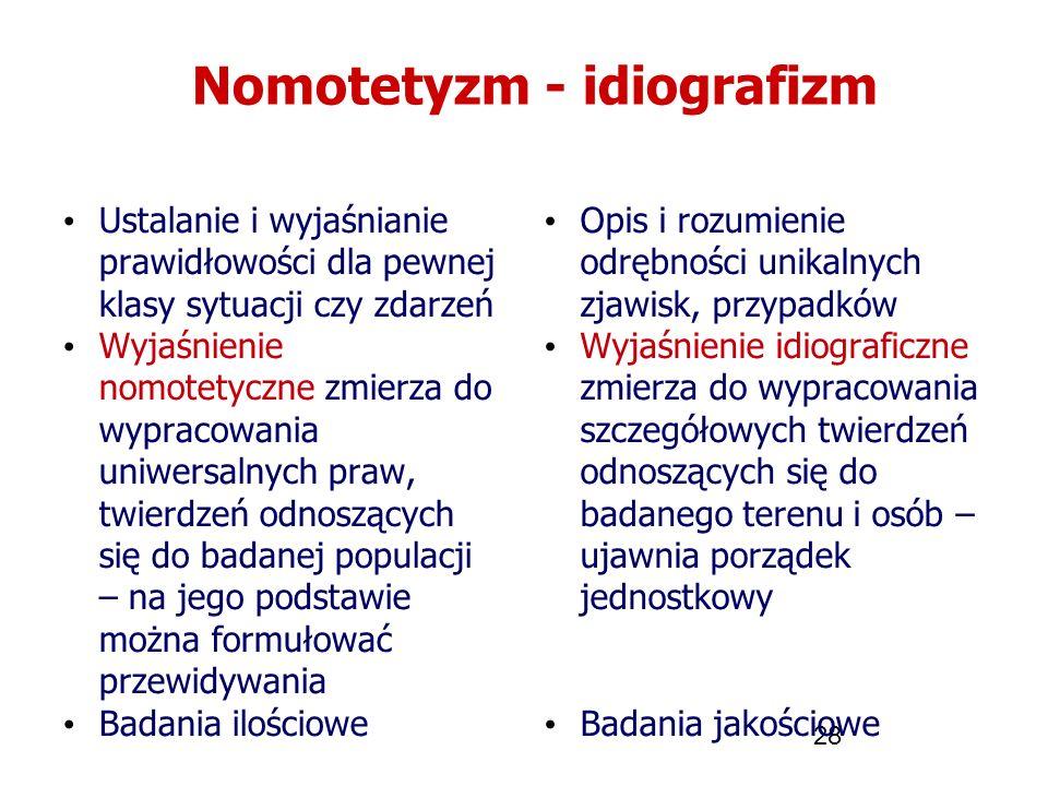 28 Nomotetyzm - idiografizm Ustalanie i wyjaśnianie prawidłowości dla pewnej klasy sytuacji czy zdarzeń Wyjaśnienie nomotetyczne zmierza do wypracowan
