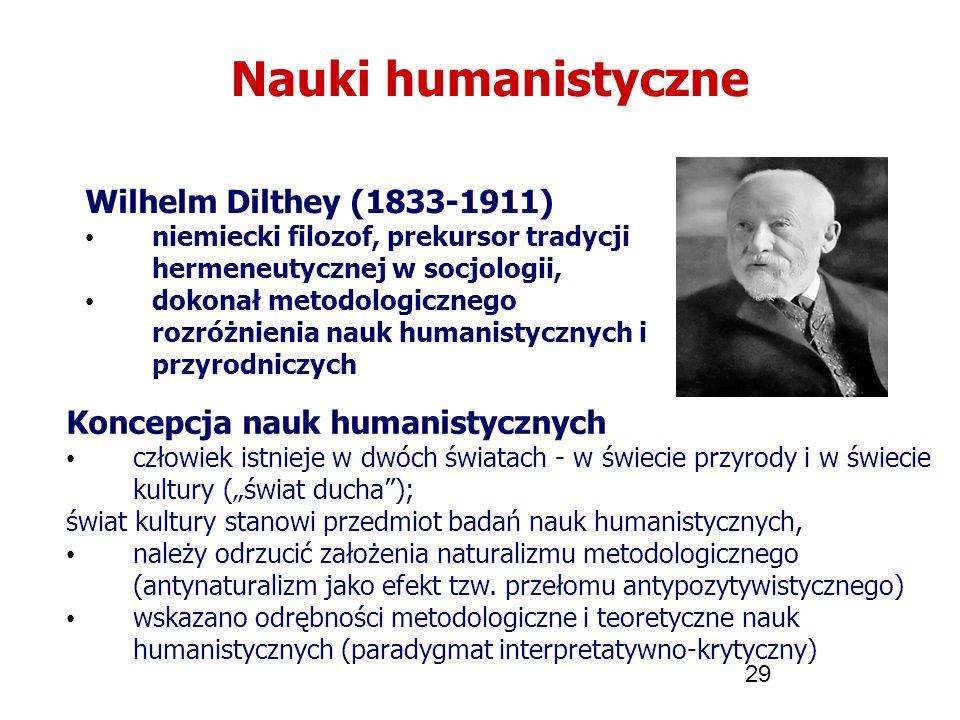 29 Nauki humanistyczne Wilhelm Dilthey (1833-1911) niemiecki filozof, prekursor tradycji hermeneutycznej w socjologii, dokonał metodologicznego rozróż