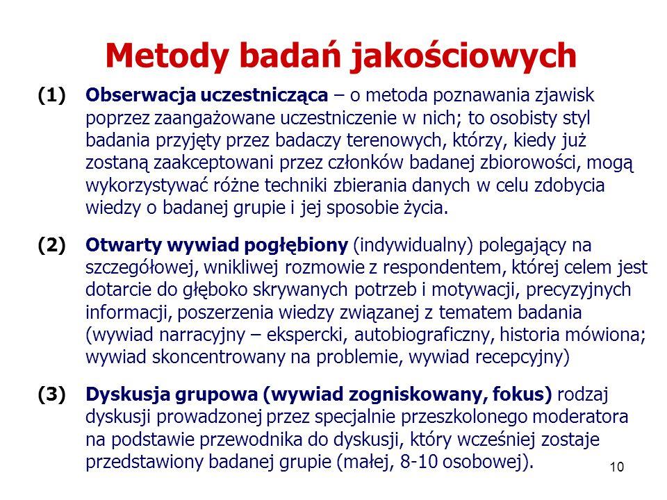 10 Metody badań jakościowych (1)Obserwacja uczestnicząca – o metoda poznawania zjawisk poprzez zaangażowane uczestniczenie w nich; to osobisty styl ba