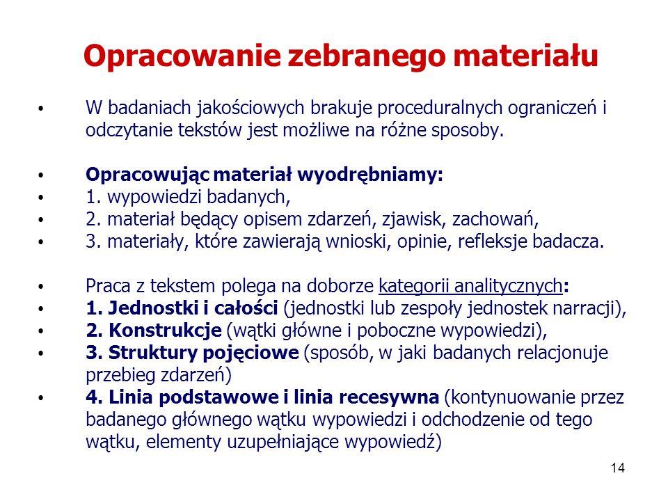 14 Opracowanie zebranego materiału W badaniach jakościowych brakuje proceduralnych ograniczeń i odczytanie tekstów jest możliwe na różne sposoby. Opra