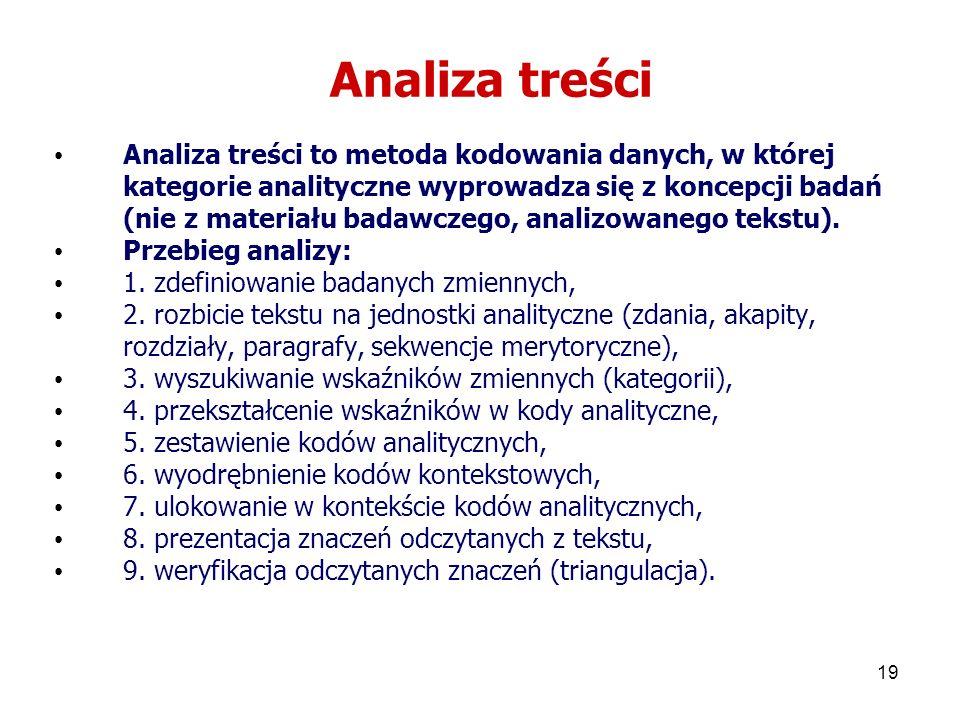 19 Analiza treści Analiza treści to metoda kodowania danych, w której kategorie analityczne wyprowadza się z koncepcji badań (nie z materiału badawcze