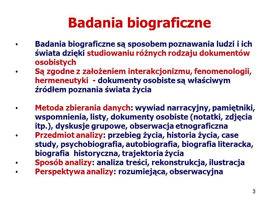 3 Badania biograficzne Badania biograficzne są sposobem poznawania ludzi i ich świata dzięki studiowaniu różnych rodzaju dokumentów osobistych Są zgod
