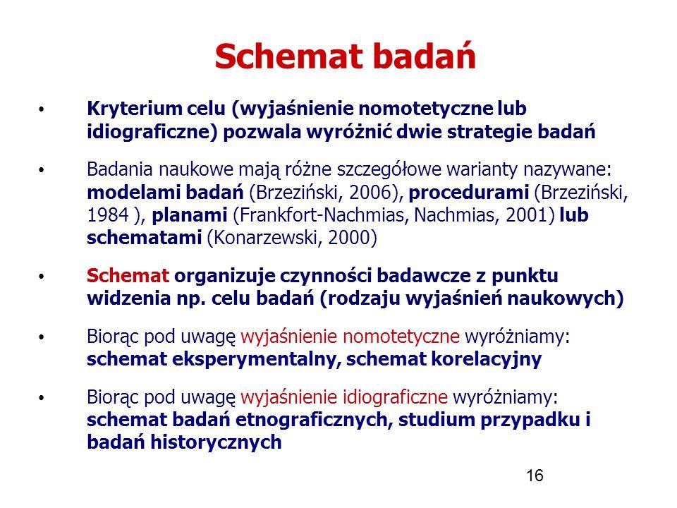 16 Schemat badań Kryterium celu (wyjaśnienie nomotetyczne lub idiograficzne) pozwala wyróżnić dwie strategie badań Badania naukowe mają różne szczegół