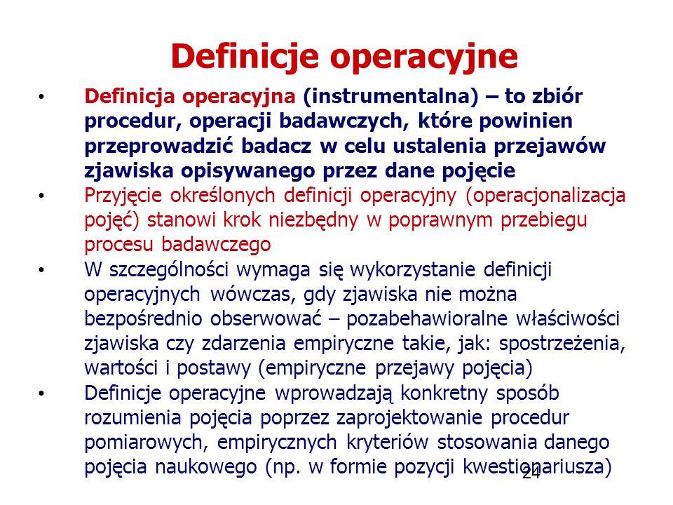 24 Definicje operacyjne Definicja operacyjna (instrumentalna) – to zbiór procedur, operacji badawczych, które powinien przeprowadzić badacz w celu ust