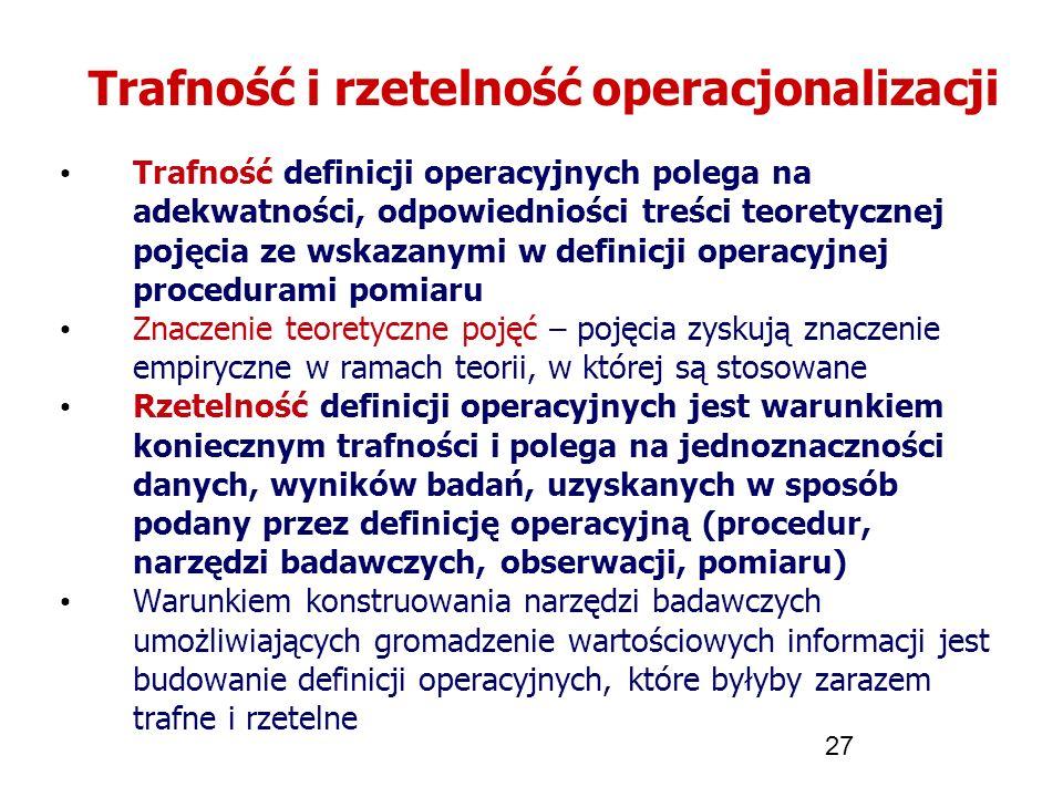 27 Trafność i rzetelność operacjonalizacji Trafność definicji operacyjnych polega na adekwatności, odpowiedniości treści teoretycznej pojęcia ze wskaz