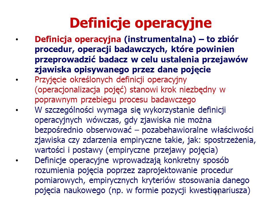 11 Definicje operacyjne Definicja operacyjna (instrumentalna) – to zbiór procedur, operacji badawczych, które powinien przeprowadzić badacz w celu ust
